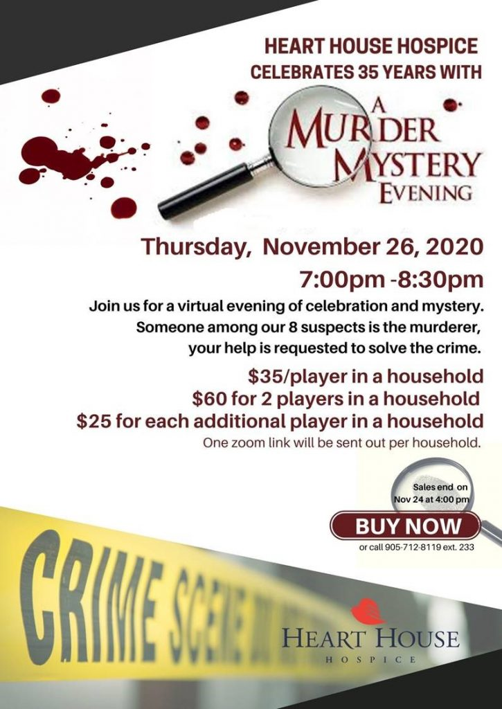 A Murder Mystery Evening in Support of Heart House Hospice